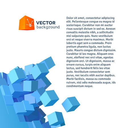 Vector 3D object explosion background with cubical particles Vector