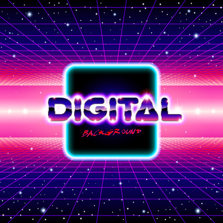 Retro styled futuristic landscape with lettering and shiny grid