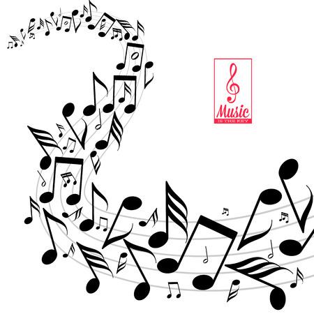 notas musicales: Tarjeta con la onda de notas musicales dispersos desordenados sobre pentagrama Vectores
