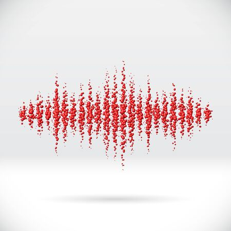disperse: Sound waveform made of chaotic scattered red balls Illustration