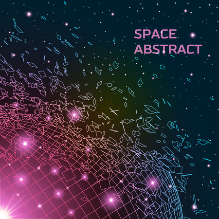 exploded: Abstract background with exploded round shiny grid and scattered particles
