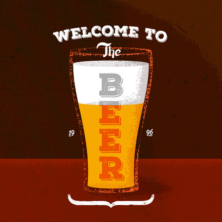 Vintage poster with beer and lettering label Vector