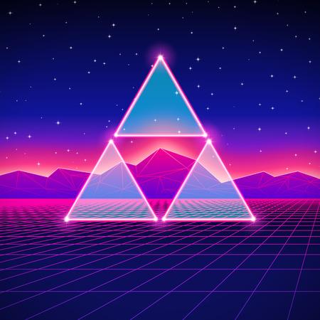 Paysage futuriste style rétro avec Triforce et la grille brillante Illustration