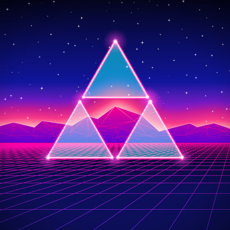 80's: Retro styled futuristic landscape with triforce and shiny grid Illustration