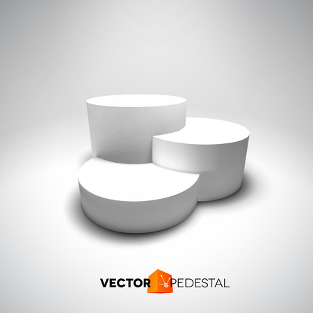 Infographic vector white 3D pedestal or graph Çizim
