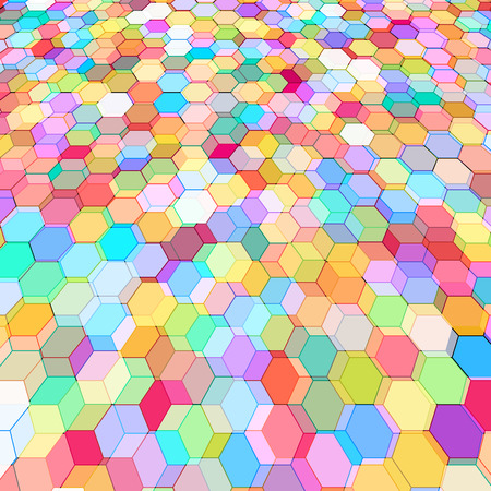 Abstract background with stained glass hex polygons