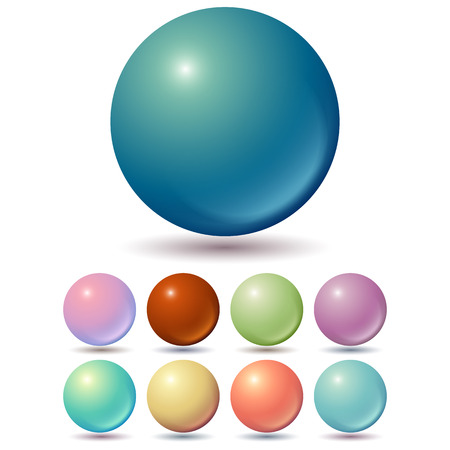 Set of muted color balls with unusual gradients Stock Illustratie