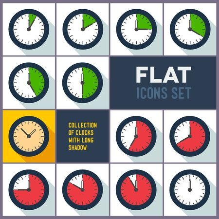 interval: Set of flat clocks with 10 minutes interval and long shadow
