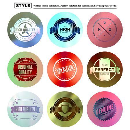 Vintage premium labels set tile structured on blurred circles Vector