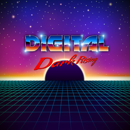 Retro styled futuristic landscape with lettering, shiny grid and dark planet