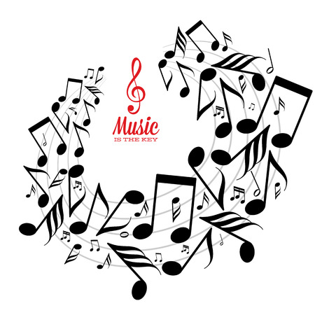 Card with circle of messy scattered music notes on stave