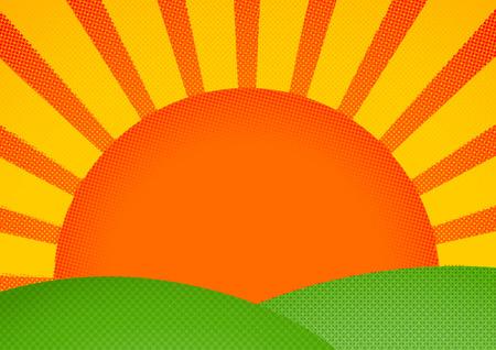 green hills: Halftone print styled sunrise over green hills