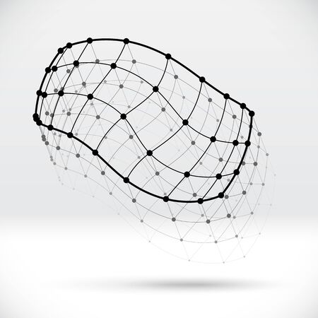 Abstract 3D wireframe shape with connected balls structure Vector