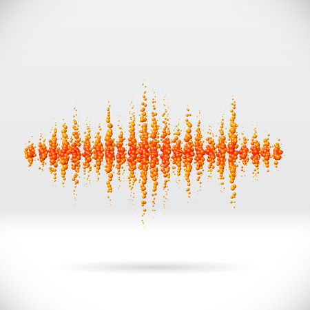 Sound waveform made of scattered orange soda bubbles Vector
