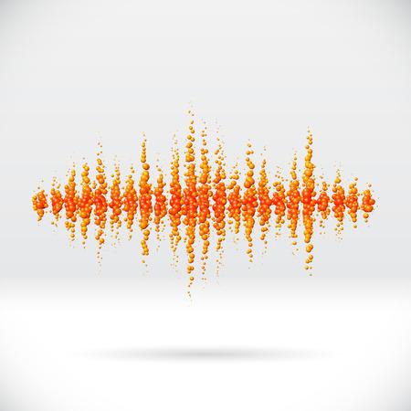 waveform: Sound waveform made of scattered orange soda bubbles Illustration