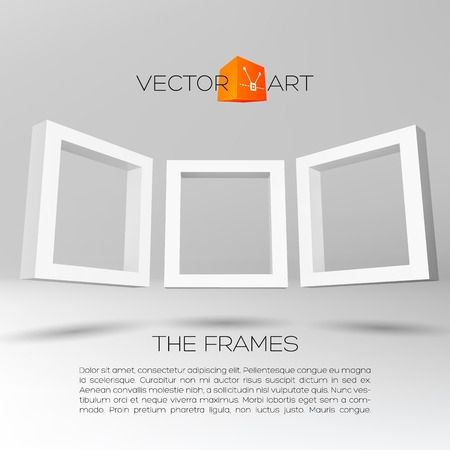 photo gallery: Three white rectangular 3D frames for your presentation Illustration
