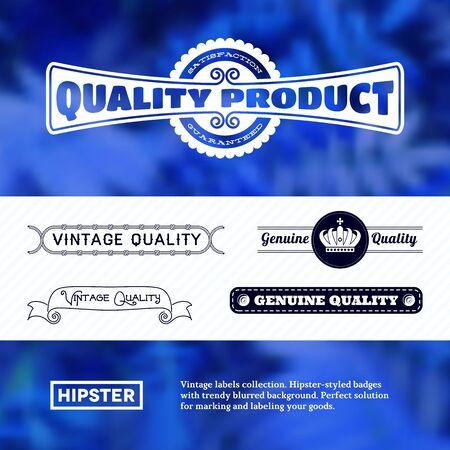 structured: Vintage premium labels set tile structured on blurred background