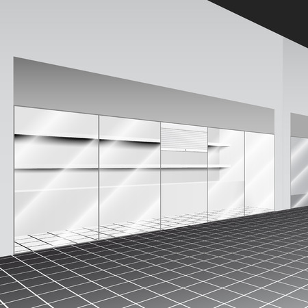 shop show window: Shop with stand and shelves in the corridor with perspective