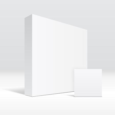 3 D の空白の白い包装箱、封筒