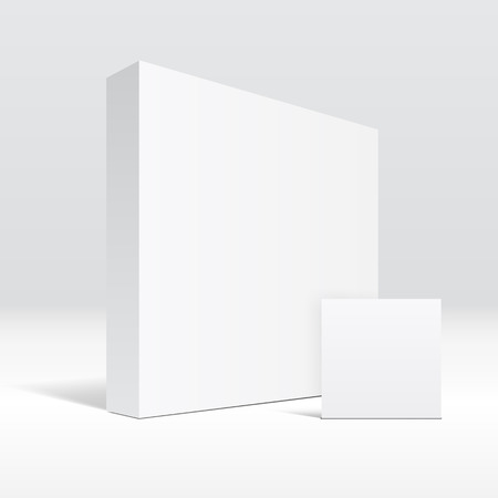 3D blank white packaging box and envelope