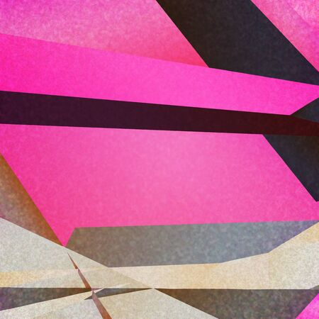 textured paper: Retro geometric background with pink colorful shapes on textured paper