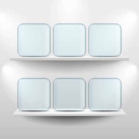 exposition: Shelves with glass app icon placeholders on white background