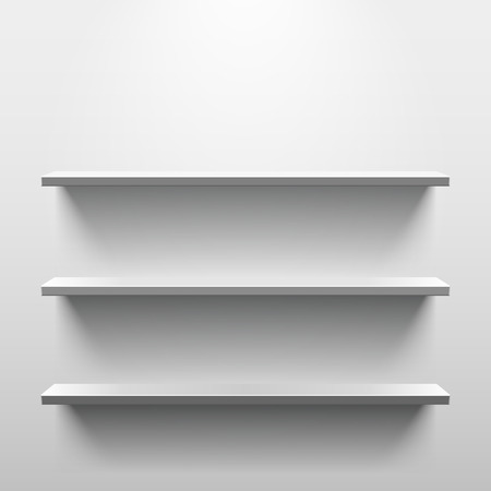 exhibition: Shelves with light and shadow in empty white room