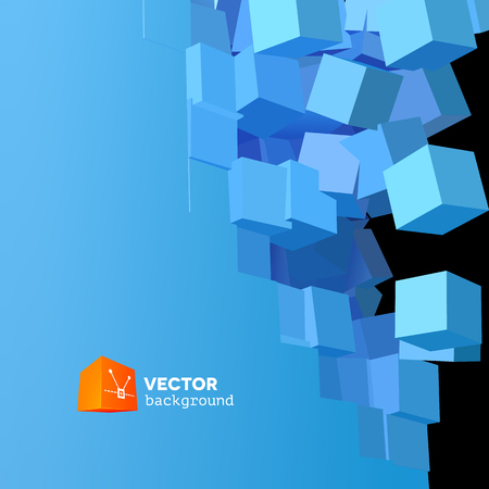 3d object: Vector 3D object explosion background with cubical particles