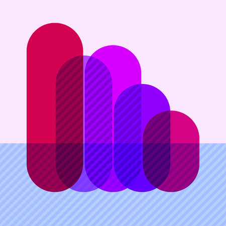sectors: Infographics with falling purple overlapping bars and marked sectors