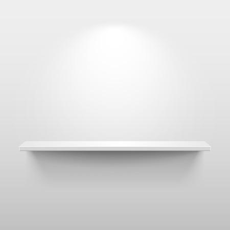 estanterias: Estante con luces y sombras en la habitación blanca vacía
