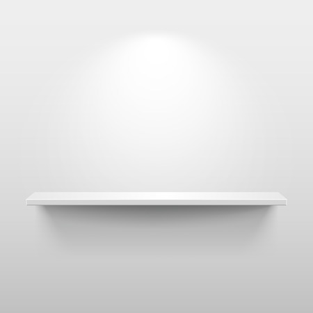 Shelf with light and shadow in empty white room