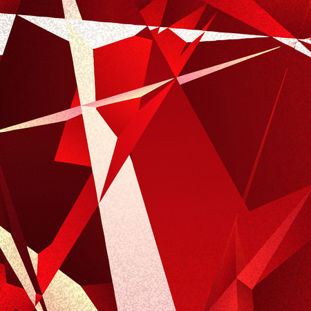 futurism: Retro geometric background with red shapes on textured paper