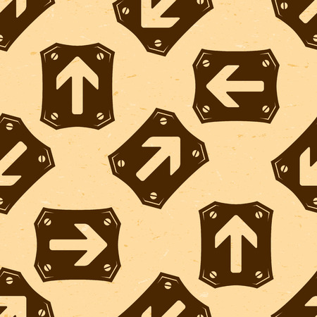 aged paper: Seamless pattern with grungy arrows on aged paper Illustration