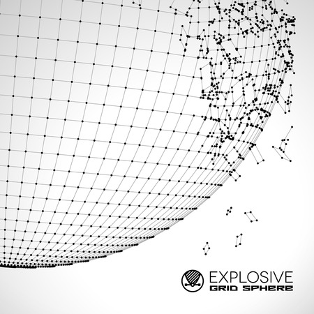 exploded: Exploded grid ball made of connected dots with black wires Illustration