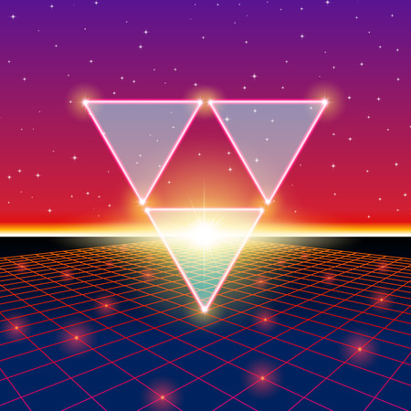rave: Retro styled futuristic landscape with triforce and shiny grid Illustration