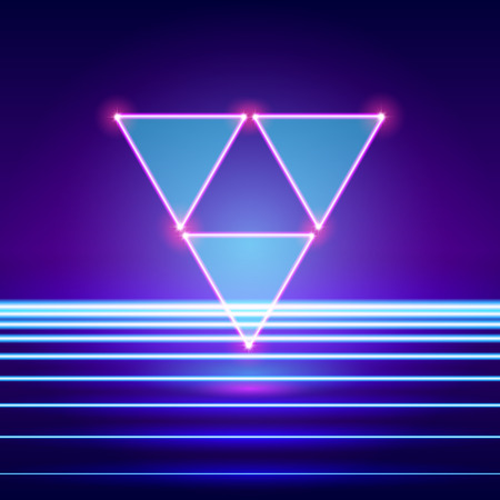 Retro styled futuristic landscape with triforce and shiny base