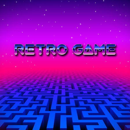 Retro gaming hipster neon landscape with blue labyrinth