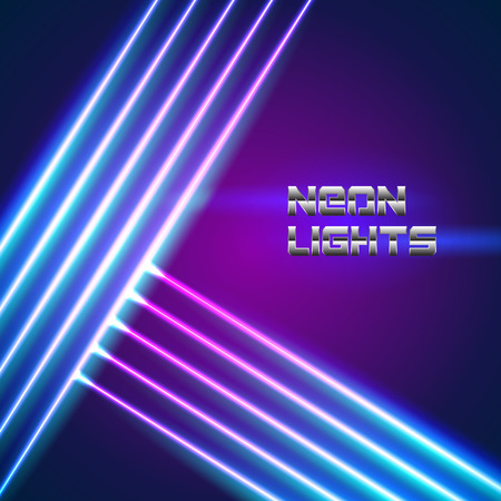 Bright neon lines background with 80s style and chrome letters Çizim