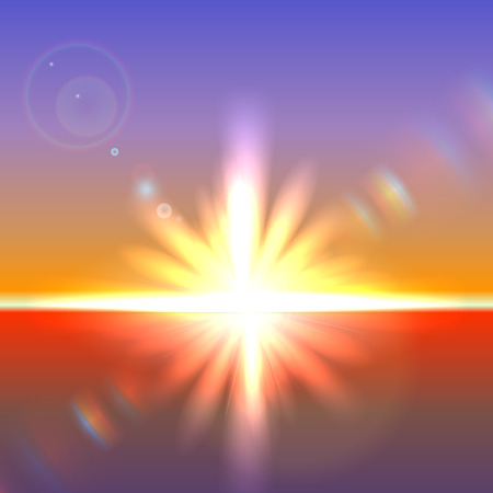 horizon: Vector sun over horizon with lens flares and refraction Illustration