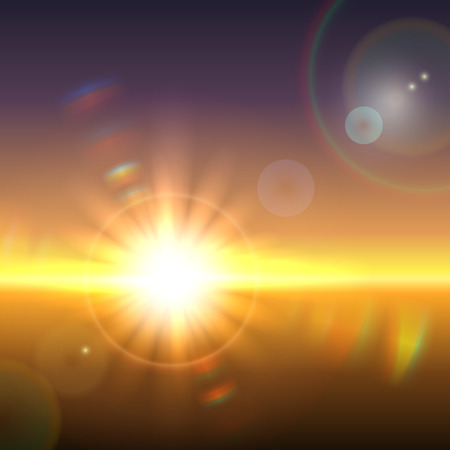 Vector sun over horizon with lens flares and refraction Illustration
