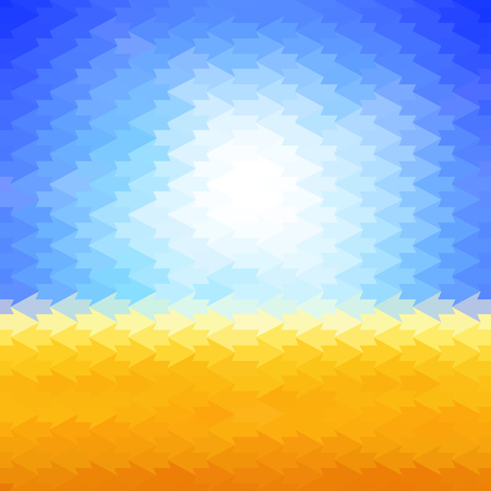 arrows background: Shiny sun background made of arrow pattern tiles Illustration