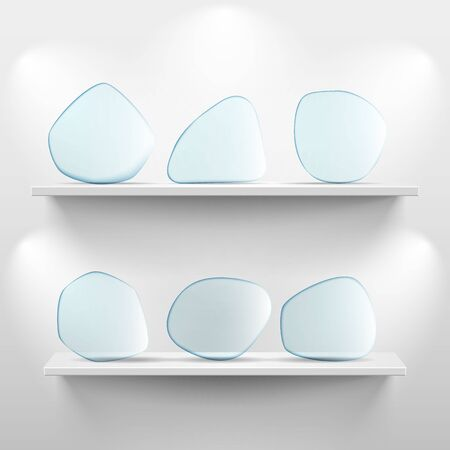 glass shelves: Shelves with glass app icon placeholders on white background