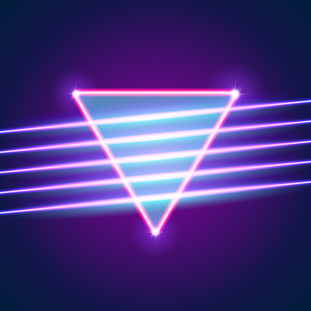 Bright neon lines background with 80s style and triangle Stock Illustratie