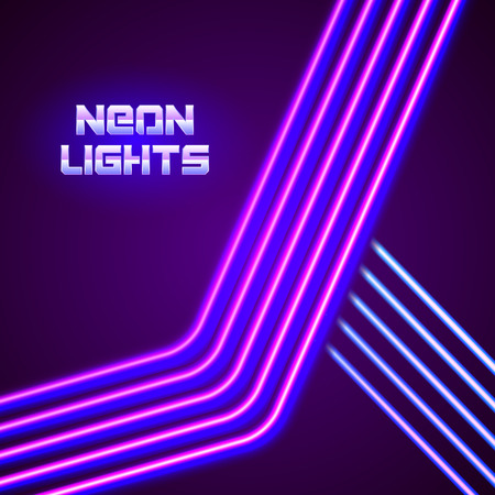 Bright neon lines background with 80s style and chrome letters Vettoriali