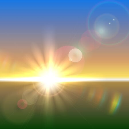 refraction: Vector sun over horizon with lens flares and refraction Illustration