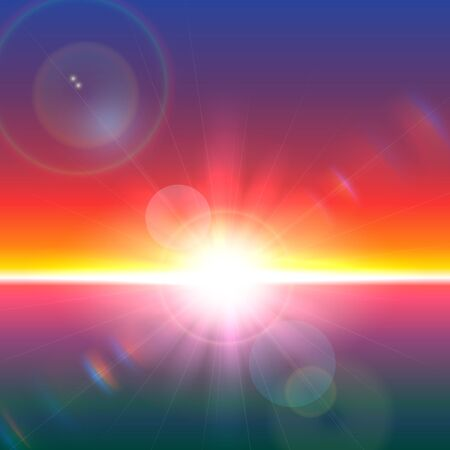 flares: Vector sun over horizon with lens flares and refraction Illustration