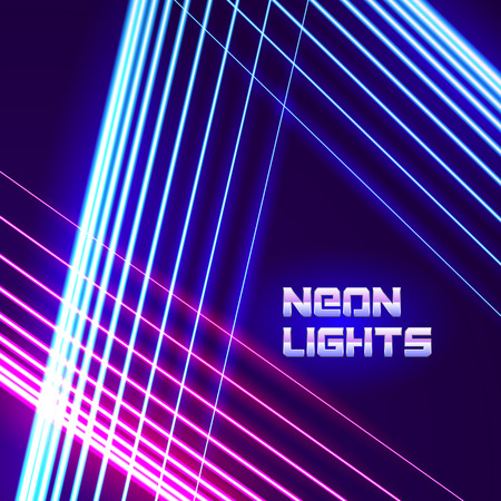 Bright neon lines background with 80s style and chrome letters 免版税图像 - 43566009