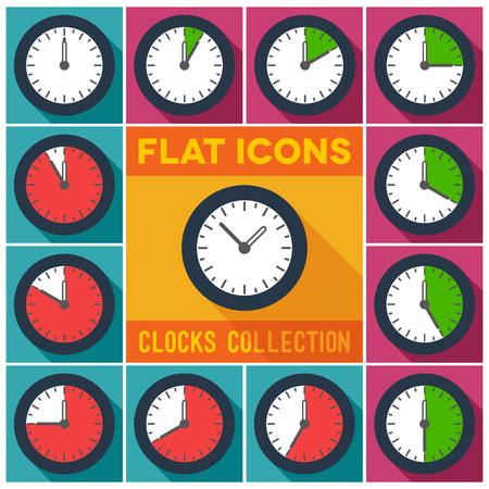 pm: Set of flat clocks with 10 minutes interval and long shadow
