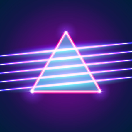Bright neon lines background with 80s style and triangle Ilustração