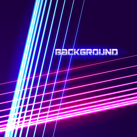 Bright neon lines background with 80s style and chrome letters Vectores